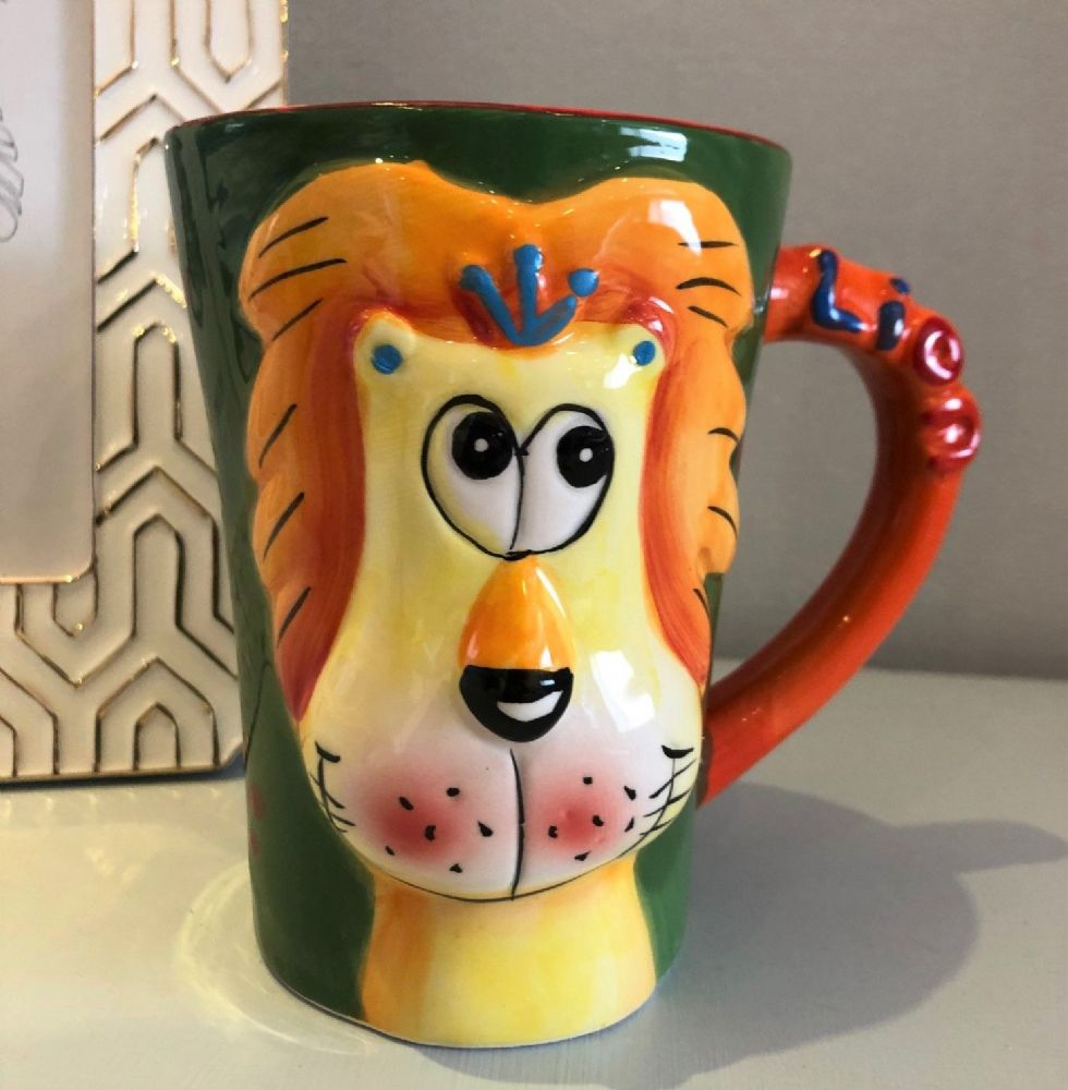 Large Colourful Ceramic Animal Mug with 3D Face ~ Lion